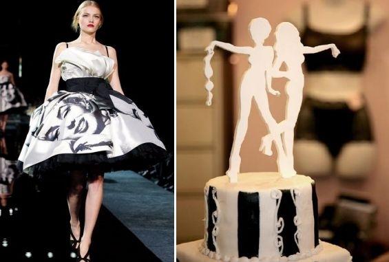 When-fashion-inspires-black-white-full-cocktail-dress-on-runway-white-black-wedding-cake-white-silhouette-cake-topper.full