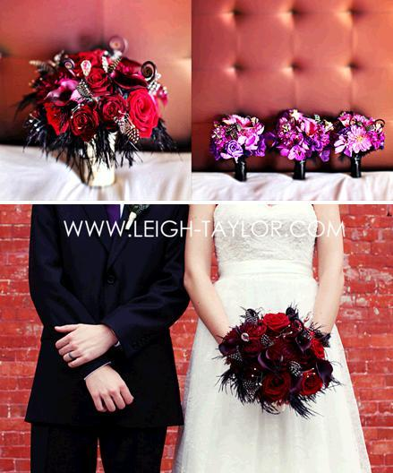 Vibrant purple bridesmaids bouquets; dark red roses with black feathers for the bride's bouquet