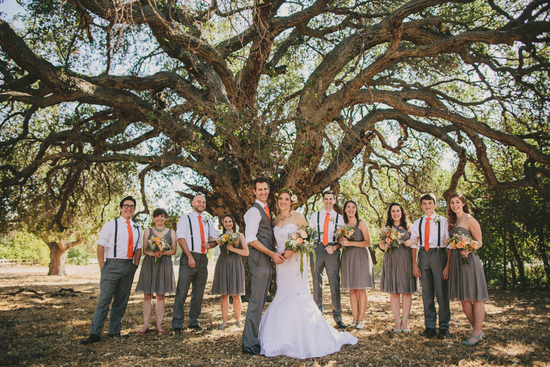 Wedding Party Under Tree Mint and Orange