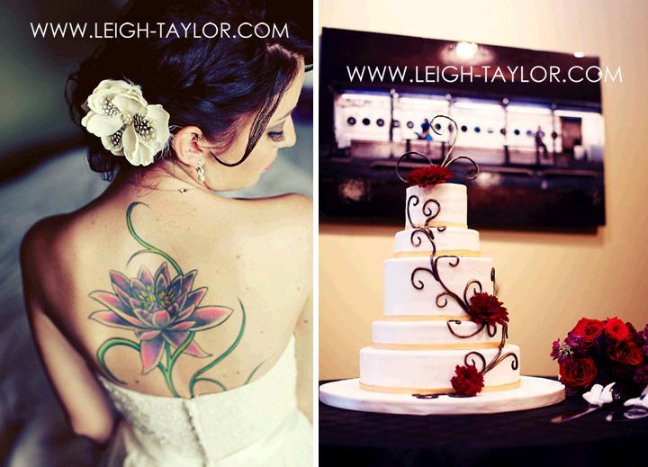 Leigh-taylor-rock-n-roll-bride-tattoo-on-back-white-wedding-cake-dark-red-swirls.full