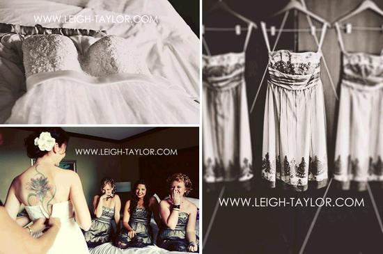 Black and white vintage-feel wedding photos- wedding dress and bridesmaids dresses