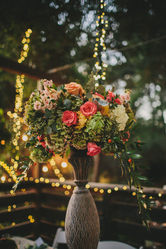 Floral Centerpiece With Mint Orange and Pink