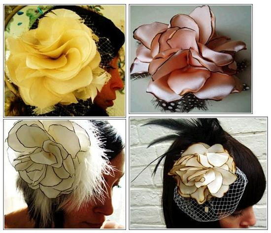 Gorgeous buttery yellow, blush pink, and ivory with flowers, bridal fascinators for the vintage-lovi