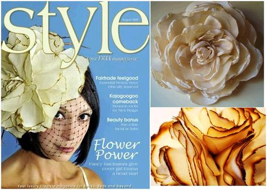 Very large ivory and gold flower fascinator on the cover of Style