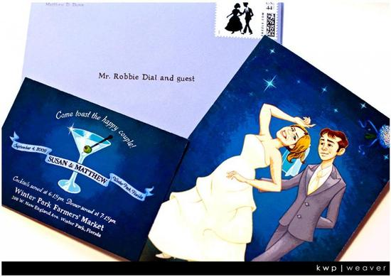 Custom dark blue and white wedding invitations designed by the groom