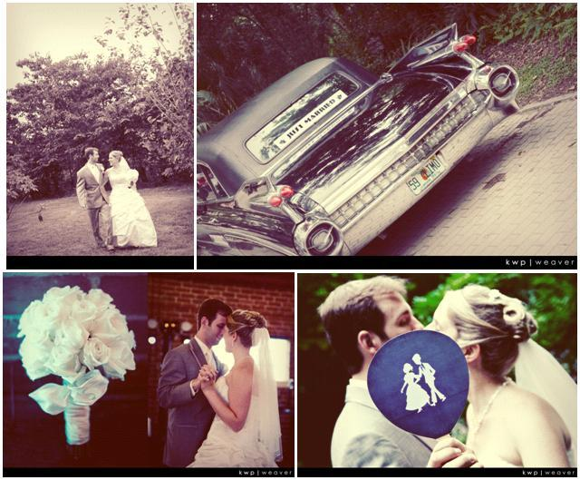 Vintage-feel wedding photos- 1959 Fleetwood, bride and grooms first dance, kiss behind blue and whit