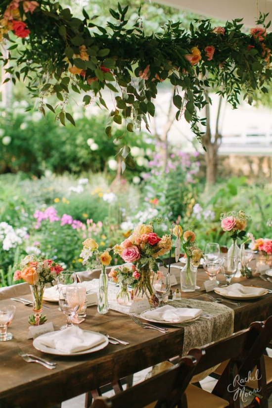 Colorful Summer Tablescape with Suspended Flowers