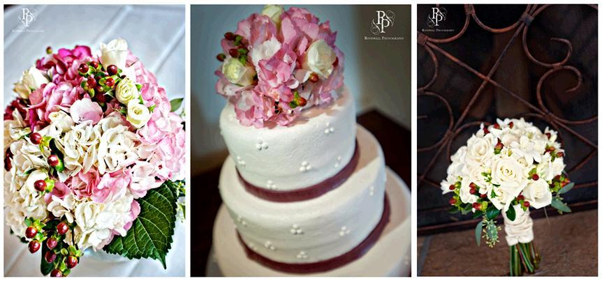 Rothwell-white-wedding-cake-maroonribbon-pink-ivory-red-green-flowers.full