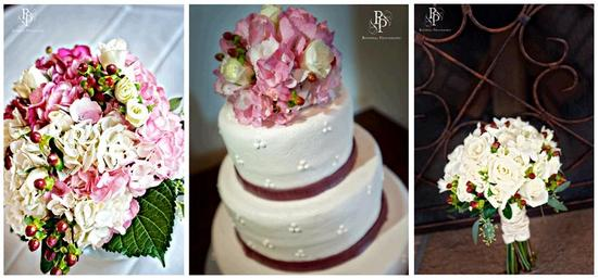 Pink, ivory, green bridesmaid bouquets; white wedding cake with maroon ribbon, pink and ivory flower