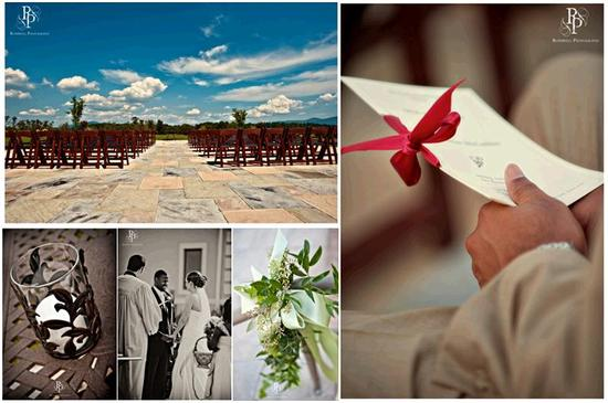 Ivory wedding programs tied with red ribbon, blue skies, a perfect wedding
