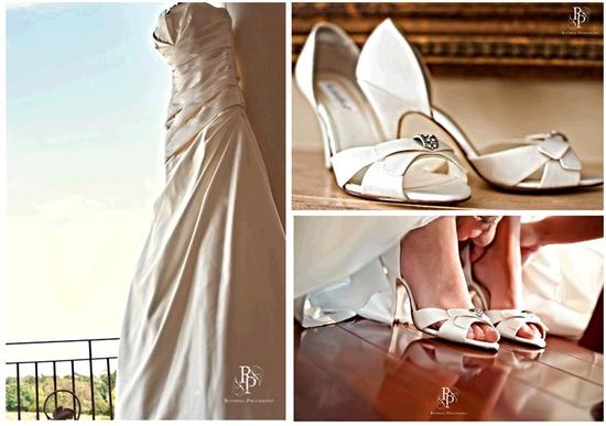 Gorgeous cream strapless wedding dress and bridal shoes, with rhinestone brooch