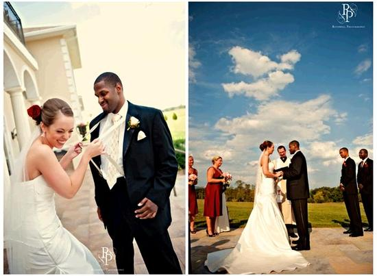 Bride and groom have fun before the ceremony; bride in ivory wedding dress with dark red rose in hai