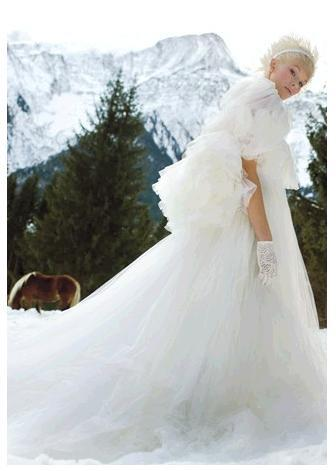 David Fielden tulle white wedding dress, winter wonderland