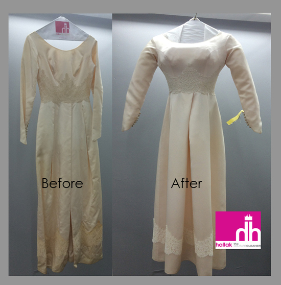 Before and After Wedding Gown by Hallak Cleaners