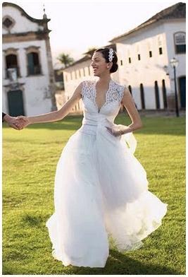 Gorgeous deep-V neck wedding dress, full tulle skirt, lace sleeves