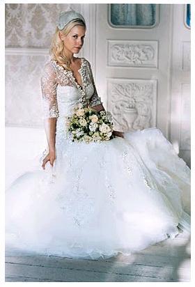 White-tulle-wedding-dress-three-quarter-sleeves-green-peach-ivory-bridal-bouquet.full