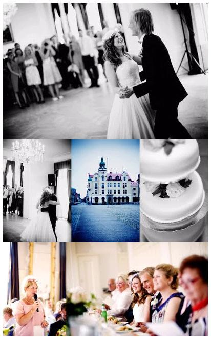 Bride and groom enjoy first dance together; gorgeous castle from afar, and closeup of delicious wedd