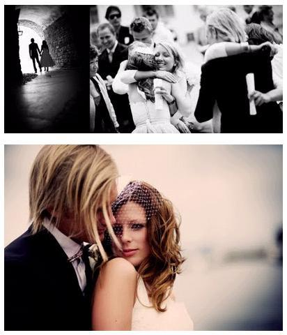 A-castle-wedding-european-romantic-black-and-white-wedding-photo-bride-groom-hug-wedding-guests-pose-together.full