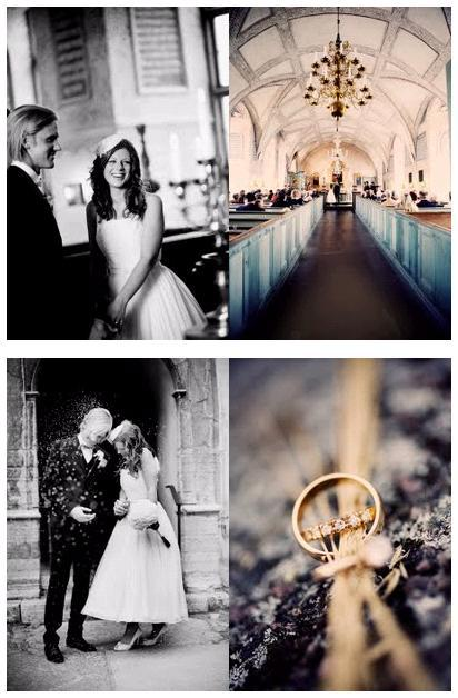 Gorgeous chapel in Sweden where this couple tied the knot; artistic closeup of wedding rings