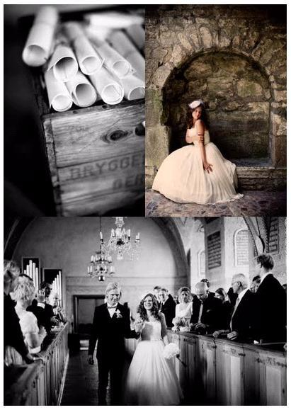 A-castle-wedding-european-romantic-black-and-white-wedding-photo-bride-groom-walk-down-the-aisle-after-becoming-man-and-wife.full