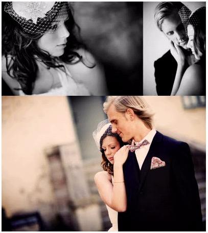 Artistic wedding photos- bride leans on grooms shoulder, groom in black tux, patterned bow tie