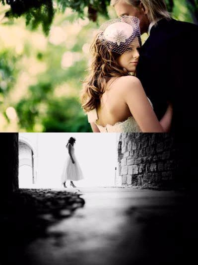 Artistic wedding photos of the bride and groom, greenery in background