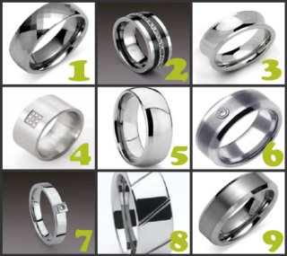 A variety of tungsten rings