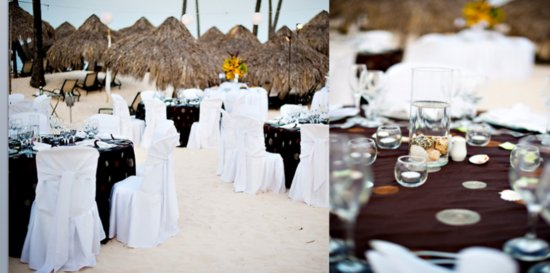 The table settings with shells, and glasses are perfect for the outdoor reception.