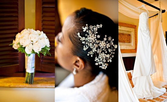 The white flowers, jeweled hair piece and long white wedding dress add perfect details to this weddi