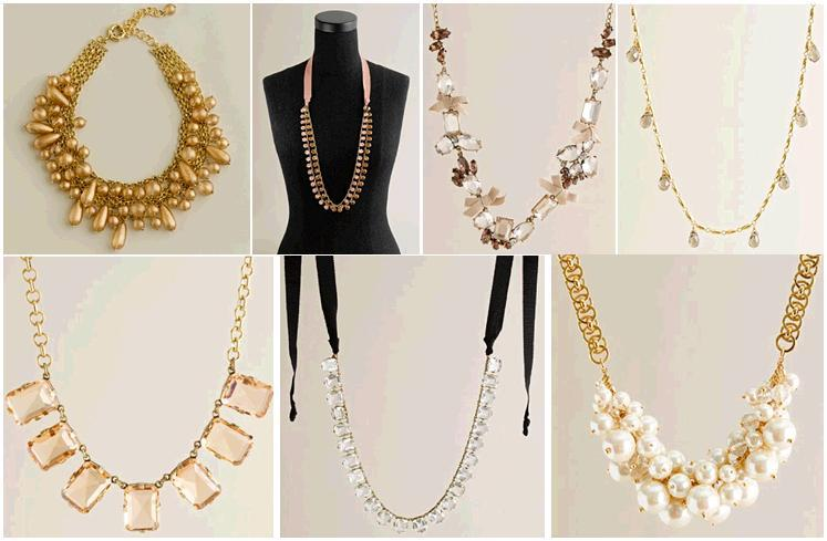 gold and pearl necklaces and long whimsical strands dress up your