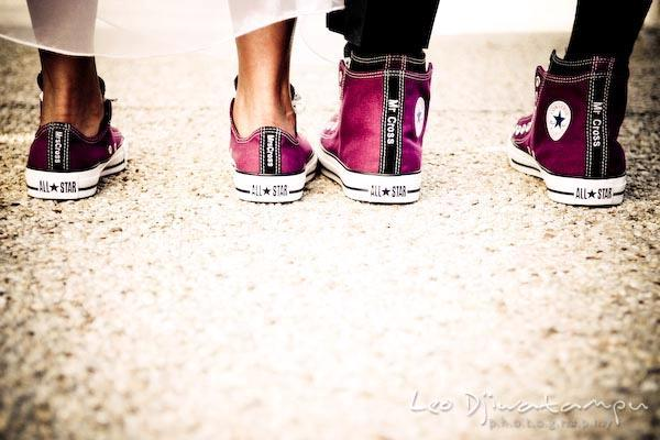 Sporty Bride And Groom Don Matching Fuschia Black Converse Personalized With Mr Mrs