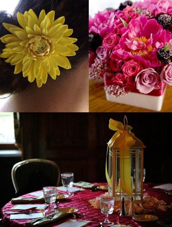 The yellow flower in the hair, the pink centerpiece, and the yellow accented lamp all make perfect a
