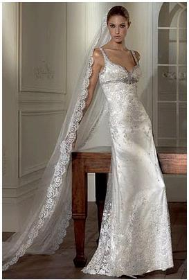 Gorgeous long mantilla veil worn with Pronovias wedding dress