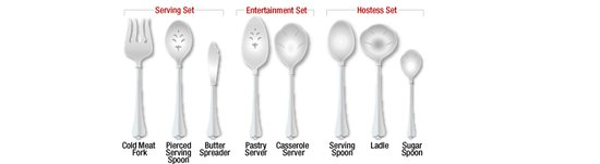 This illustration helps you see the variety of serving pieces available to you.