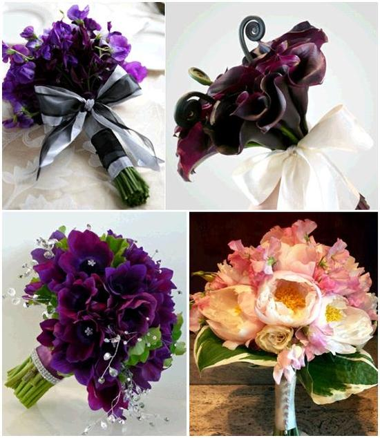 Gorgeous plum, eggplant, burgundy, pink, white bridesmaid bouquets