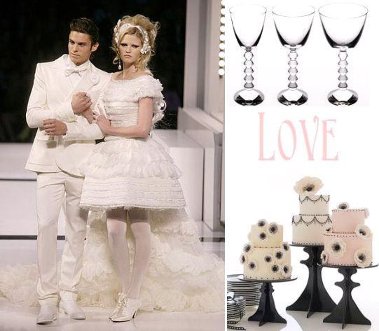 Short Chanel wedding dress, beautiful modern wine glasses, white, cream, pink black wedding cakes