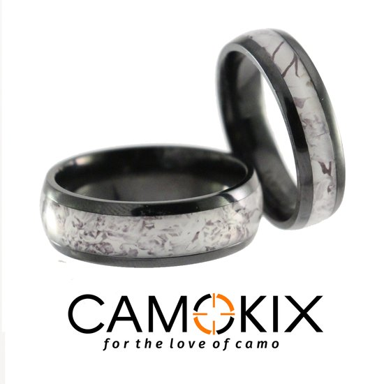 Snow Camo His and Hers Camo Ring Set at Camokix