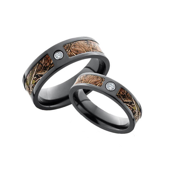His and Hers Diamond Camo Ring Set at Camokix