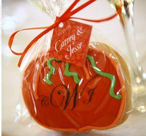 End your fall wedding with a sweet treat for guests monogram end your fall wedding with a sweet treat for guests monogram pumpkin cookies for your wedding favor junglespirit Image collections