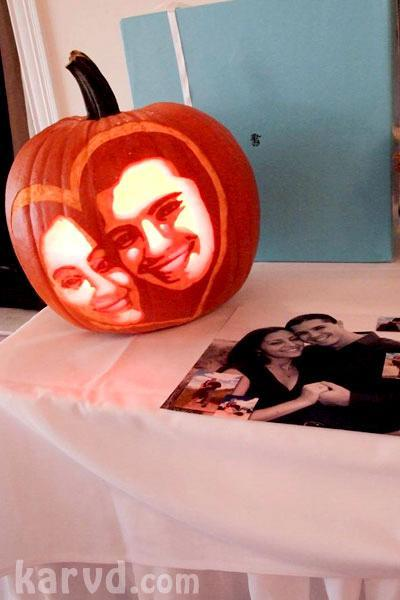 Have your favorite photo as a couple imposed on a pumpkin; have your very own pumpkin carving contes