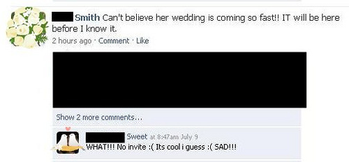 This Facebook status page shows how using regular social networking sites to talk about your wedding