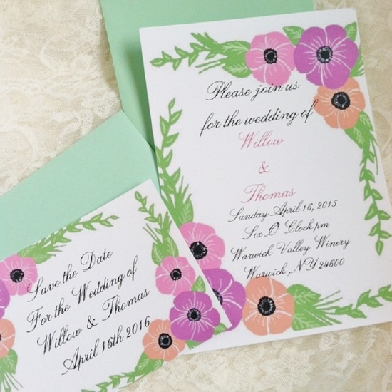 floral pastel wedding invitations