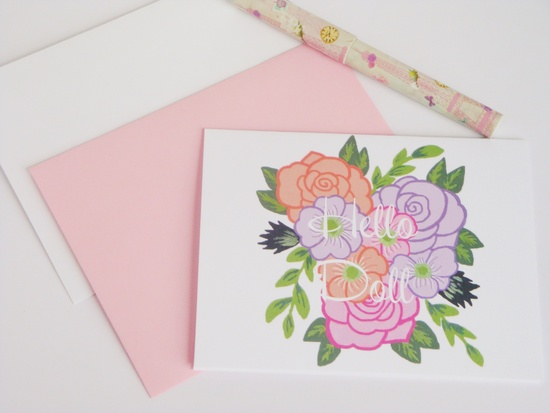 retro floral note card