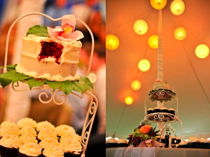 The cupcake tower provides the perfect setting for both cupcakes and small red velvet wedding cake.