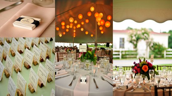 Using wine corks to hold the escort cards is a brilliant touch for these casual table settings at an