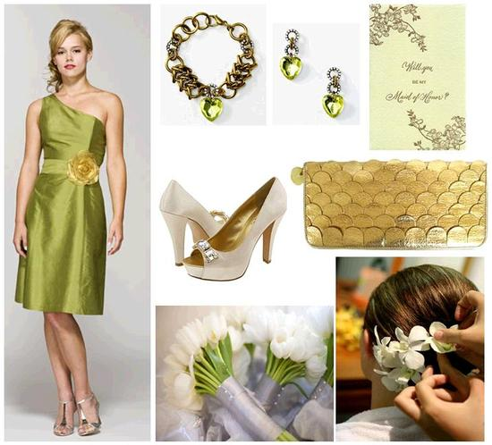 Gold, ivory, champagne, and green- a beautiful, stylish, natural color palette for your wedding