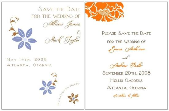 Fun and natural white, vibrant orange, periwinkle and brown wedding stationery