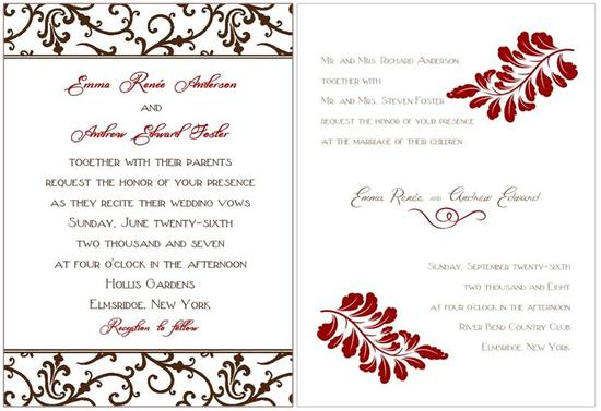 Chic and sophisticated white, chocolate brown damask, and maroon wedding stationery
