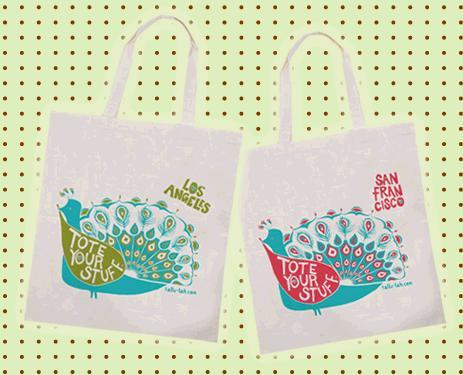 Tallu-lah stylish and eco-friendly city shopping tote on white organic cotton with bright, vibrant c