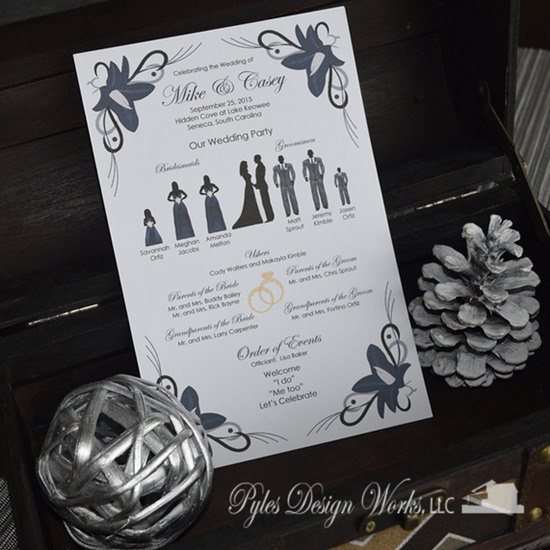 Ortiz-Bayne Wedding Program by PDW